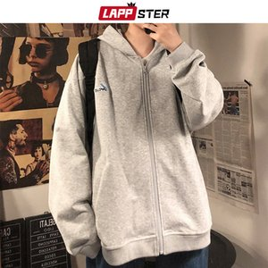 LAPPSTER Autumn Men Oversized Hoodies Cardigan 2020 Autumn Mens Harajuku Sweatshirts Solid Korean Fashions Grey Hooded Hoodie