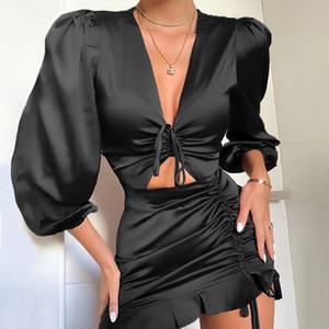 Partido Pescoço V profundo Sexy Mulheres vestido de cetim Lace Up Ruffles Holow Fora Ruched Vestido Feminino vestido elegante Magro Mini vestidos
