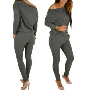 Yüksek Kaliteli İlkbahar Yaz Kadın Tulum Moda Zarif Off Omuz Casual Uzun Kollu Tulumlar Lady Boysuit