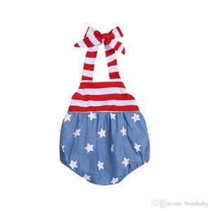 Baby Girl Sling Rompers American Flag Independence National Day USA 4th July Summer Infant Star Stripe Print Onesies Stitching Jumpsuit