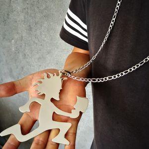 Men Hip-Hop jewelry 5IN big Hatchetman Twiztid ICP charm S.steel pandent Figaro chain 7mm 18--40 inch