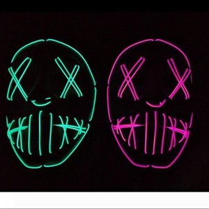 Led Halloween Mask EL Wire Light UP Glowing Mask Masquerade Costume Party Festival Christmas Prom Mask