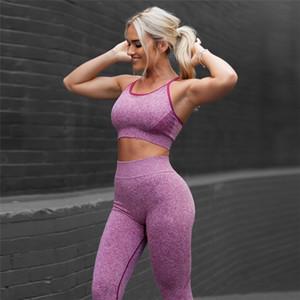 2 parçalı set spor Tozluklar dikişsiz leggins sutyen spor kadınlar yüksek bel egzersiz Trainning jimnastik giyim yoga seti giymek