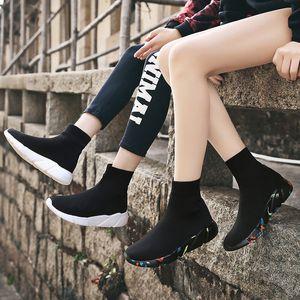 MWY 탄성 직물 양말 직물 통기성 플랫폼 플랫은 바얀 SPOR AYAKKABI 야외 성인 운동화 캐주얼 여성 신발 신발