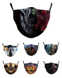 Máscara de la cara del cráneo máscara cosplay reutilizable historieta de la impresión cubrebocas Contaminacion ultravioleta Prueba lavable Ejecución de montar en bicicleta protector