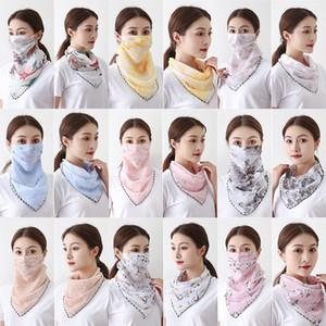 Designer Mask Women Silk Scarves Pareo Sarong Sunscreen Wraps Summer Floral Face Mouth Mask Turban Beach Scarf Sea Chiffon Neckchief