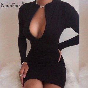 Nadafair Long Sleeve V Neck Bodycon Autumn Winter Dress Woman Sexy Party Night Club Zipper Red Black Khaki Casual Mini Dress