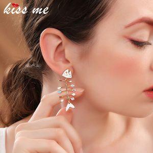 kissme Women Earrings Unique Multicolor Enamel Fishbone Stud Earrings Party Gifts Gold Color Fashion Jewelry Accessories