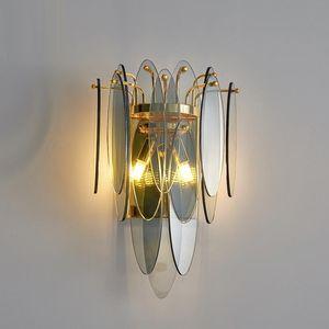 Modern wall lamp light   hotel villa living room decorative aisle bedroom bedside glass