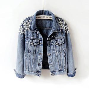 2020 Spring Autumn Women Basic Coats Women Denim Jacket Pearls Beading Fashion Jeans Coat Loose Long Sleeve Jackets w912