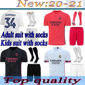 Costume pour enfants adulte avec chaussettes de football Jerseys Real Madrid 20 21 Hazard Jovic Benzema Camiseta de futbol Vinicius Rodrygo Modric Shirt de football