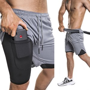 Running Shorts Two-piece Jogging Pants Quick-drying Anti-glare Exercise Fitness Gym Men's Athletic