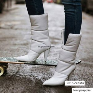 Sexy Split Shoe Tube Spike Heels Lady Leather Winter Warm Boots Women White Mid-calf Boots Pointed Toe Botas Mujer Designer