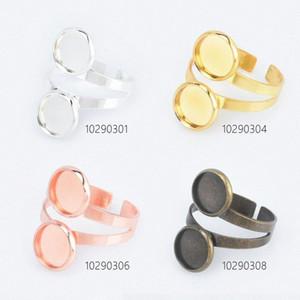 Дважды ободок кольца Blank Настройка лотка подходит для 12мм Камея Кабошоны DIY ювелирных аксессуаров 10pcs 0Nup #
