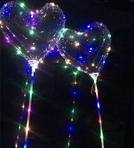 LED Bobo Balloon Parpadeando Luz Feliz Corazón Bola Bola Transparente Globos 3M Luces de cadena Fiesta de Navidad Decoraciones de la boda Juguete de los niños 02