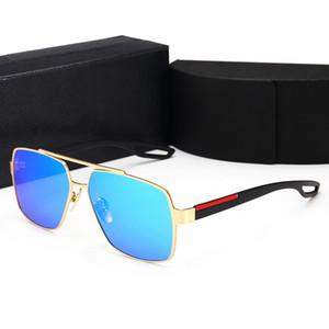 الرجعية الاستقطاب فاخر مصمم رجالي نظارات بدون إطار الذهب مطلي ساحة الإطار العلامة التجارية نظارات شمسية نظارات الموضة مع حقيبة