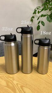 STOCK 18 oz 25 oz 32 oz botella de agua Deportes de acero inoxidable frasco botella de vacío de doble pared con aislamiento de fugas Deportes tapa a prueba de boca ancha