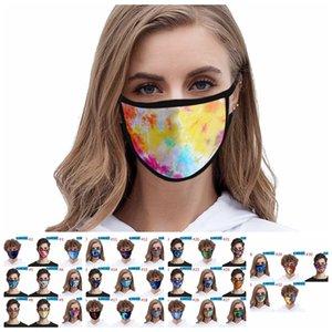 التعادل صبغ الوجه قناع الغبار قابل للغسل قابلة لإعادة الاستخدام صامد للريح 3D مطبوعة قناع الوجه مطاطا حلقة الأذن تنفس أقنعة CCA12340 200PCS