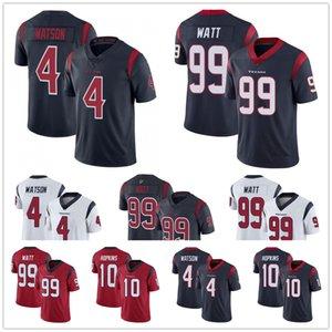 Houston hommesTexansJersey 4 Deshaun Watson 99 JJ JJ Watt 10 DeAndre Hopkins Marine Rouge Couleur Blanc Maillots de football