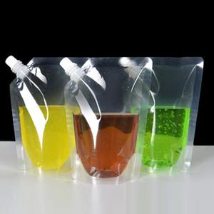 Klare Getränke Beutel Taschen 250ml - 500ml Stand-up Plastik Trinkbeutel mit Halter wiederverschüttungsfähige wasserdichte Wasserflaschen DHB621