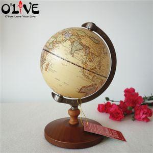 Madeira Globo Terrestre Retro Decoração Início Vintage Desk Toy World Map Geografia Home Furnishing Ornamentos Artesanato Figurines T200709
