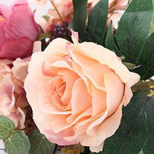 11 heads Real Touch Slik Flowers Artificial Rose Flowers Bouquet flores artificiais For Wedding Decoration Party Home Decor
