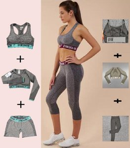 Womens Designer Grils Yoga Suit manga longa Calças Shorts Bra Bust Sportwear Fatos da aptidão Jumpsuit Roupas Sport Gymshark Imprimir Letter