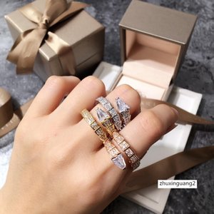 Animal Snake Round Finger Rings Woman Crystal with Cubic Zircon for Women Party Wedding Rose Gold Color
