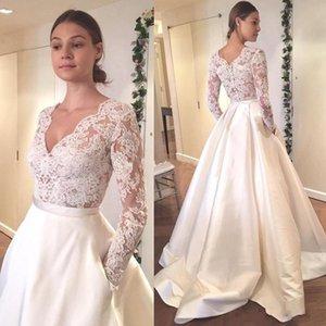 Elegant Satin Modern Wedding Dresses A Line Sexy Deep V Neck 2020 Illusion Long Sleeves Bridal Gowns Appliqued Lace Vestidos De Novia AL6517