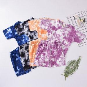 Vêtements enfants filles garçons Tenues enfants Tie Dye manches courtes Tops + Shorts 2pcs / ensembles Summer Fashion Boutique Vêtements de bébé M2405