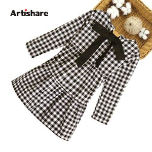 Dress Girl Fashion Plaid Dress For Girl Long Sleeve Pleated For Kids Autumn Korean Clothes Girls 6 8 10 12 14 Year