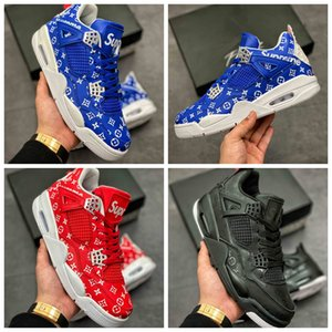 High Quality 4 Pattern Basketball Shoes 4s Black Blue Red Mens Trainer des chaussures Women Outdoor Sports Sneakers Size 36-46
