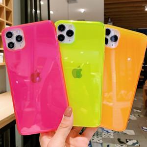 INS Hot fluorescent cas de softphone anti-choc transparent pour iPhone 11 Pro Max XR XS Max 8 7 plus tendance couvercle arrière silicone