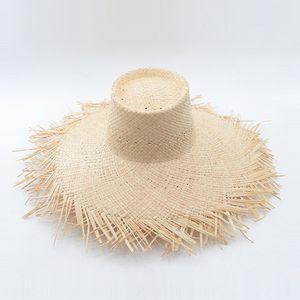 Wind Lafite grass woolen high wool top big eaves straw hat outdoor beach sunscreen Lafite straw hat