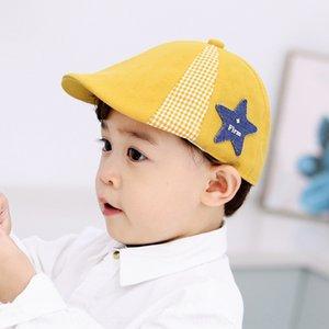 Plaid color five-pointed star beret 2020 season new children's cap baby cap Beret baby duck tongue hat infant hat batch