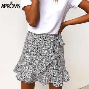 Aproms Multi Dot Print Short Mini Skirts Women Summer Ruffle High Waist Bow Tie Skirt Ladies Streetwear Slim Bottoms Saias 2020 T200712