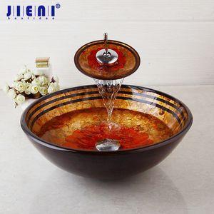 JIENI ванной бассейна Раковина Смеситель Set закаленное ванной стеклянный сосуд Раковина Chrome Водопад латунь кран Combo