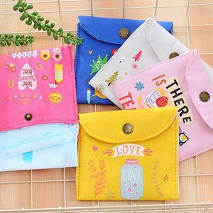 Canvas Sanitary napkin storage large capacity female sanitary napkin storage cute monthly bag aunt towel bag