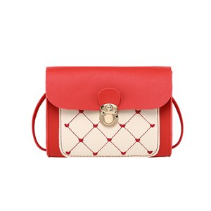 lady Rhombus Contrasting Color Shoulder Lock Square Bag New Embroidered Messenger Bag shoulder bag purses ladies hand bags