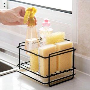 Sponge Holder Soap Drain Storage Rack Kitchen Sink Organizer Rag Dishcloth Brush Holder Iron Shelf Bathroom Organizer