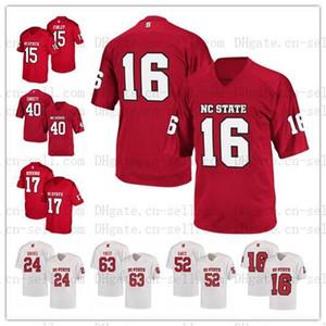 Пользовательские NCAA NC State WolfPack Любое имя S-6XL белый красный 9 Bradley Chubb 17 Филипп реки 16 Рассел Уилсон колледж ретро футбол Джерси