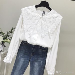 jacket with chic long sleeves 2008 autumn and winter new style of foreign air lace stitching undercoat cotton shirt