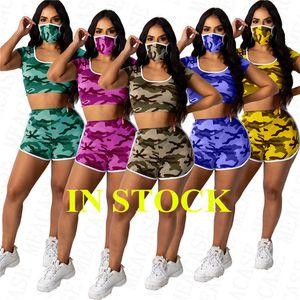 Summer women design tracksuit camo color hooded crop top t shirt + biker shorts + face mask 3pcs set sports yoga outfit leisure wearD71406