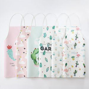 PU Prevent Water Aprons Kitchen Oil Proof Cleaning Apron Home Furnishing Clean Flamingo Pattern Coveralls New Arrival 11jm L1