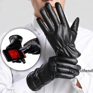 Men Women Unisex Touch Screen Gloves Motorcycle Cycling Mittens Winter Warm PU Leather Gloves Waterproof Windproof Full Finger Glove