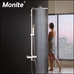 Monite 8 pulgadas de lluvia termostático 3 Funciones Chrome polaco cabezal de ducha Conjunto de ducha Baño Bañera Ducha mezclador Grifo Llave