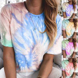Summer Tops Oversized Tie Dye Hip Hop Tees Short Sleeve Women Clothes T-Shirt