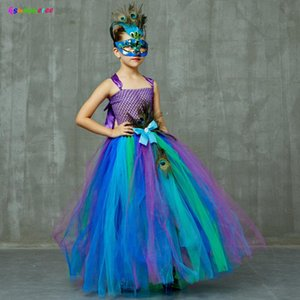 Flower Princess Peacock Costume for Girls Wedding Birthday Party Tutu Dress Kids Pageant Ball Gown Feathers Girl Tulle Dresses