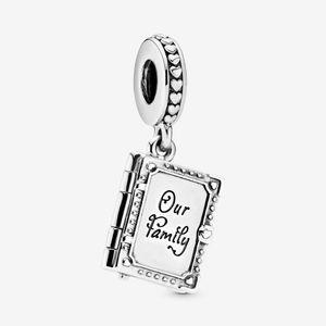 100% 925 Sterling Silver Family Livre de famille Dangle Charmes Fit Original Européen Charm Bracelet Fashion Femmes De Mariage Bijoux Accessoires