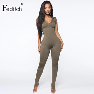 Feditch 2020 Summer Casual Skinny jumpsuit Short Sleeves Low Cut Sheath jumpsuit Long Pants Night Club Sexy women